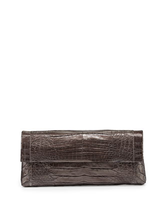 Crocodile Flap Clutch Bag, Anthracite