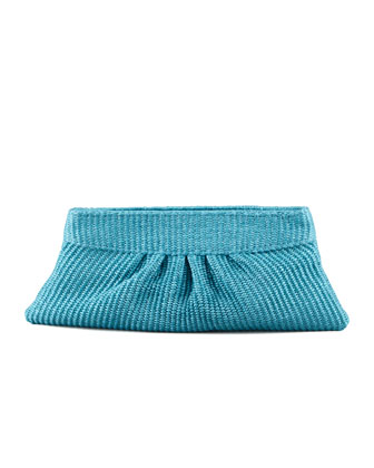 Louise Raffia Clutch Bag, Turquoise