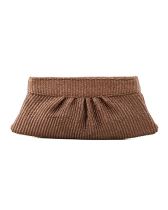 Louise Raffia Clutch Bag, Brown