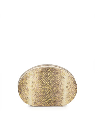 Lucca Metallic Snake-Print Clutch Bag, Bronze/Cream