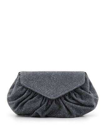 Diana Glittery Suede Pochette Clutch Bag, Charcoal