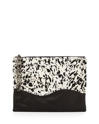 Winnie Calf Hair Splatter Wristlet Bag