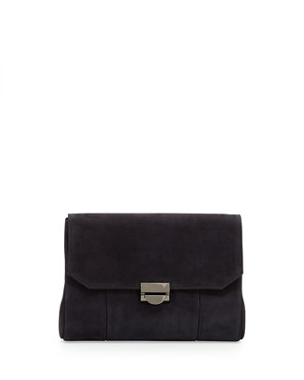 Mini Marlow Nubuck Crossbody Bag, Black