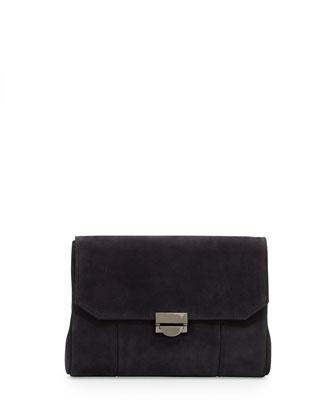 Mini Marlow Nubuck Crossbody Bag, Black