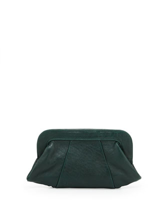 Tatum Leather Clutch Bag, Hunter Green