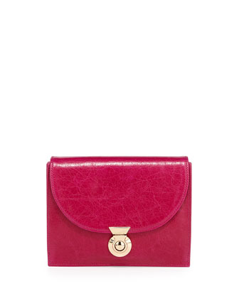 Piper Glazed Calfskin Clutch Bag, Fuchsia