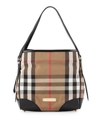 Small Check Canvas Shoulder Bag, Black