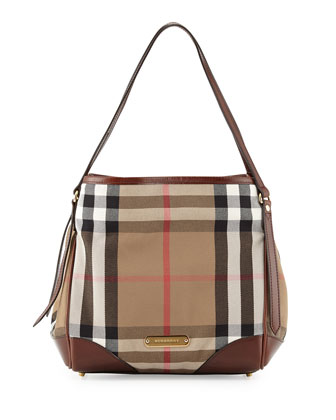 Small Check Canvas Shoulder Bag, Dark Tan