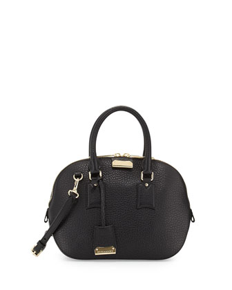 Small Domed Zip Satchel Bag, Black