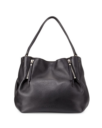 Leather Zip-Detail Medium Tote Bag, Black