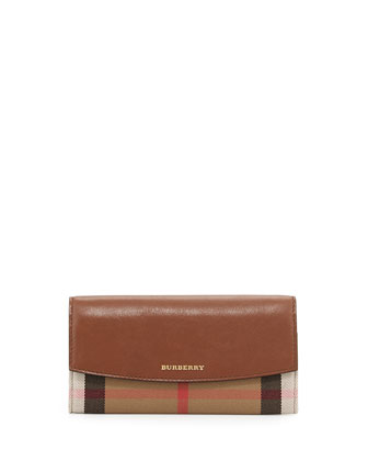 Leather Check Flap Wallet, Brown Ocher