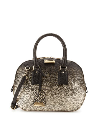 Pebble-Grain Metallic Satchel Bag, Black