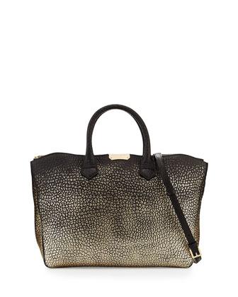 Pebble-Grain Metallic Tote Bag, Black