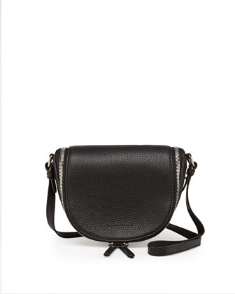 Small Leather Zip Crossbody Bag, Black