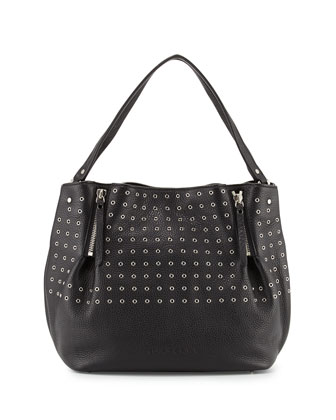 Leather Eyelet Zip Tote Bag, Black