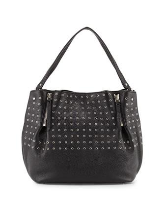 Leather Eyelet Zip Tote Bag, Black