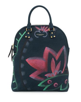Prorsum Painting Nubuck Satchel Bag, Indigo Green