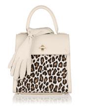 Bogart Calf Hair Top Handle Bag, White/Leopard