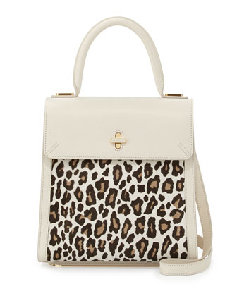 Bogart Calf Hair Top Handle Bag, White/Leopard