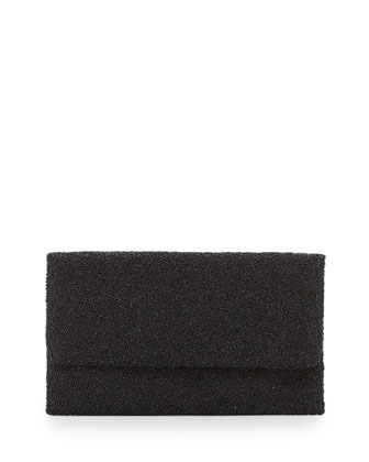 Allover Matte Beaded Flap-Top Clutch, Black