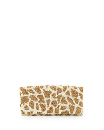 Giraffe Beaded Clutch Bag, Ivory/Gold