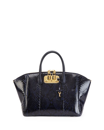 Brera 32 Python Satchel Bag, Navy/Black