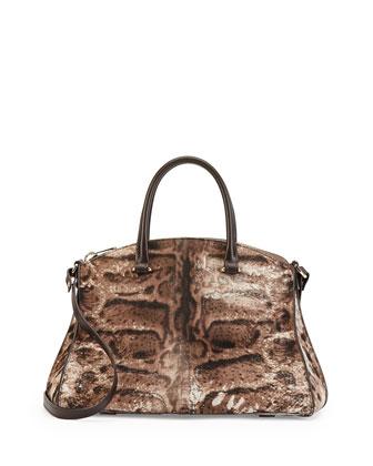 Trevi Calf Hair Satchel Bag, Leopard