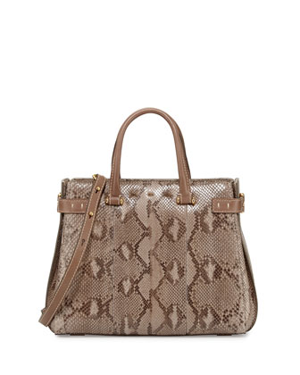 Boulevard 32 Python Tote Bag, Natural