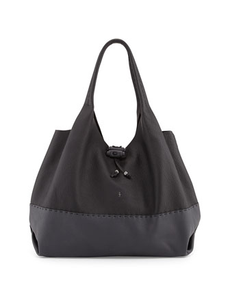 Canotta Bicolor Calfskin Hobo Bag, Black/Gray