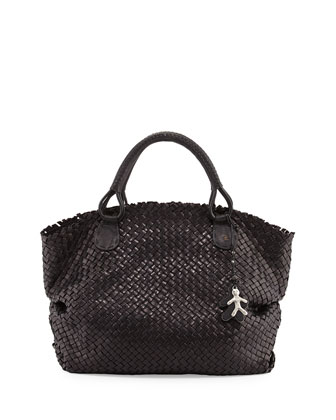 Woven Leather Satchel Bag, Black