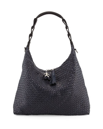 Gwen Woven Leather Hobo Bag, Navy