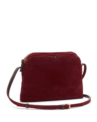 Multi-Pouch Suede Crossbody Bag, Burgundy