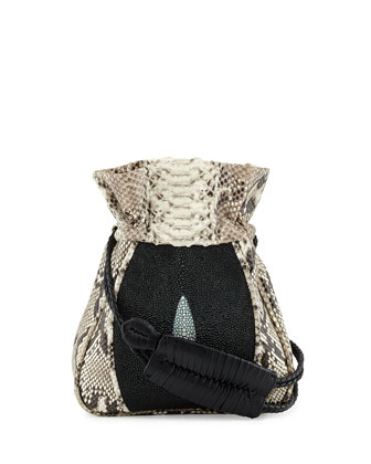 Mignonne Python & Stingray Pouch Bag, Natural/Black