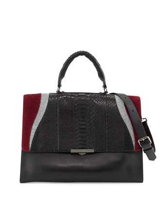 Saper Mixed-Media Satchel Bag, Black/Dark Crimson