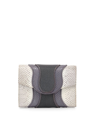 Jolie Snake and Stingray Clutch Bag, White/Gray