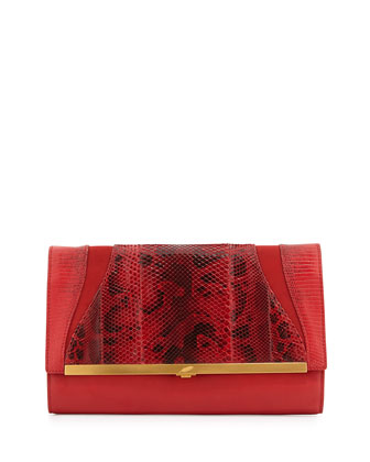 Katerine Combo Clutch Bag, Flame Red