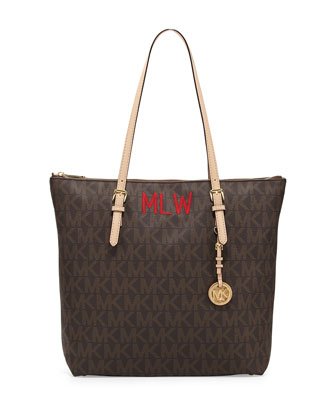 Monogrammed Jet Set Top-Zip Tote