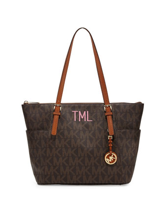 Monogrammed Large Jet Set Top-Zip Tote