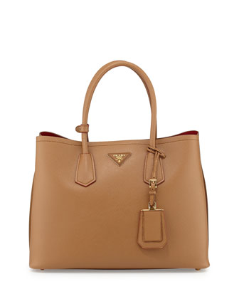 Saffiano Cuir Medium Double Bag, Camel (Carmello)