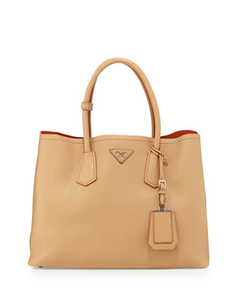 City Calf Medium Double Bag, Beige (Noisette)