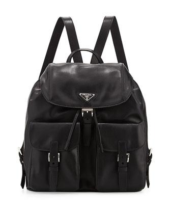 Soft Calf Double-Pocket Backpack, Black