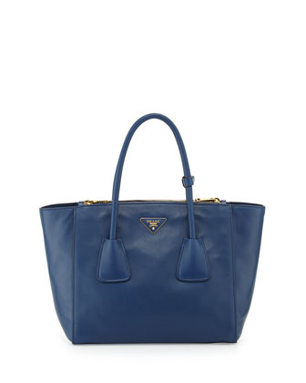 Glace Calf Twin Pocket Tote Bag, Blue (Bluette)