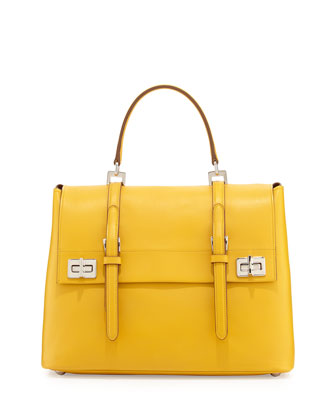 Lux Calf Medium Flap Satchel Bag, Yellow (Soleil)