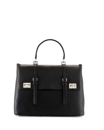 Lux Calf Large Flap Satchel Bag, Black (Nero)