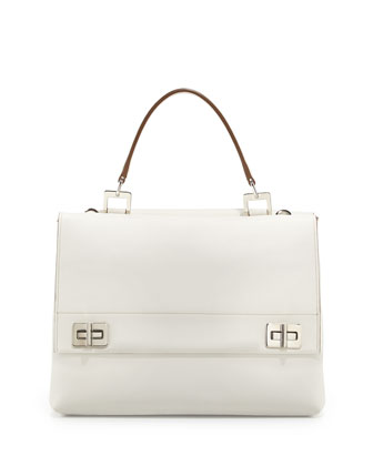 Lux Calf Double-Flap Satchel Bag, White (Bianco)
