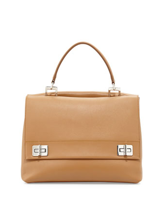 Lux Calf Double-Flap Satchel Bag, Brown (Caramel)