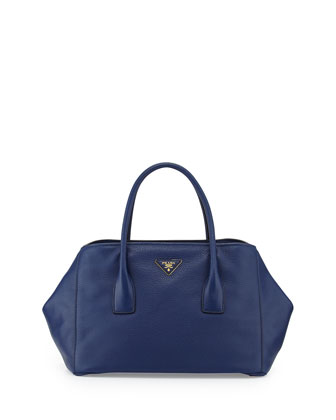 Vitello Daino Garden Tote Bag, Dark Blue (Inchiostro)