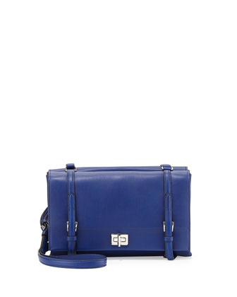 Lux Calf Shoulder Bag, Dark Blue (Inchiostro)