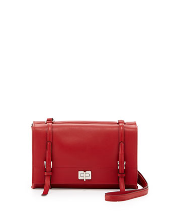 Lux Calf Shoulder Bag, Red (Fuoco)