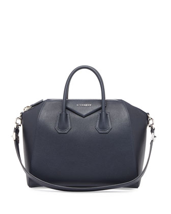 Antigona Medium Sugar Satchel Bag, Navy